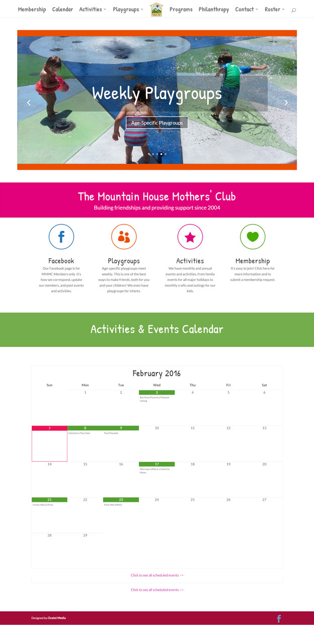 Mountain House Mothers' Club website designed by Ocelot Media