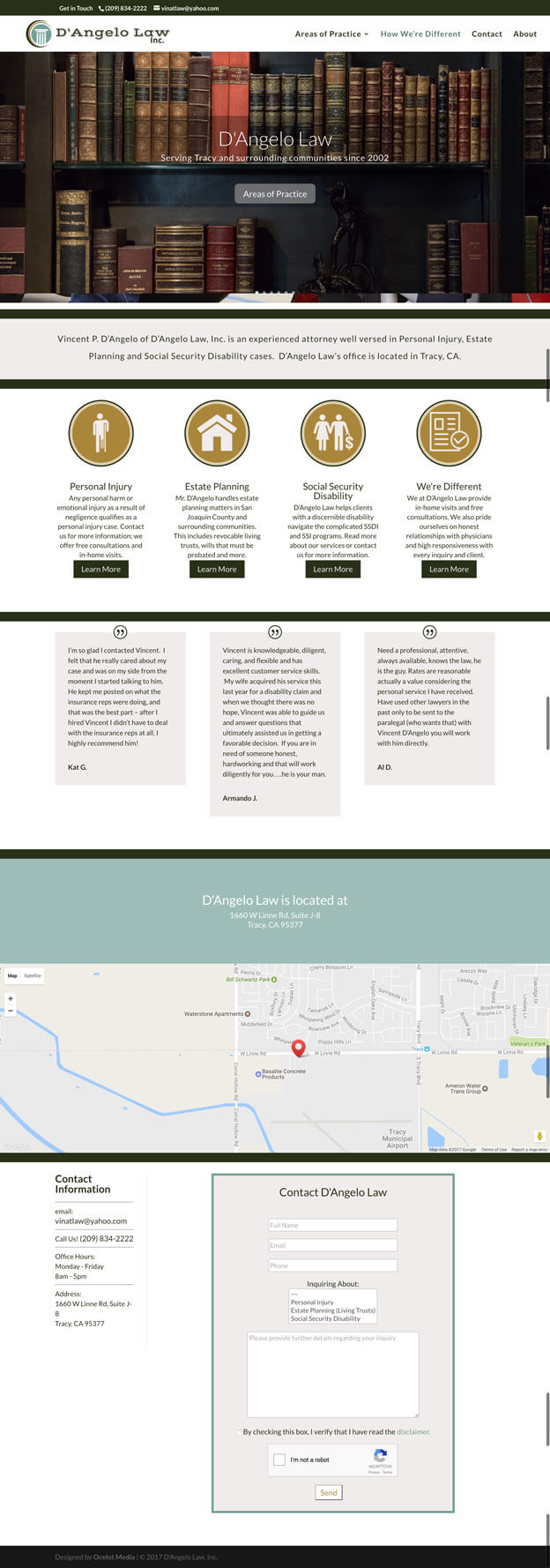 D'Angelo Law, Inc. in Tracy, CA - web design by Ocelot Media