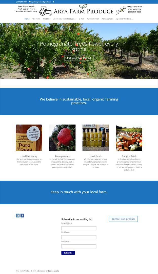 Arya Farm Produce website design screenshot by Ocelot Media in Tracy, CA